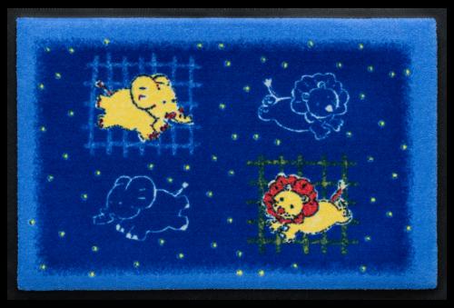 Fußmatte Löwe und Elefant auf Blau