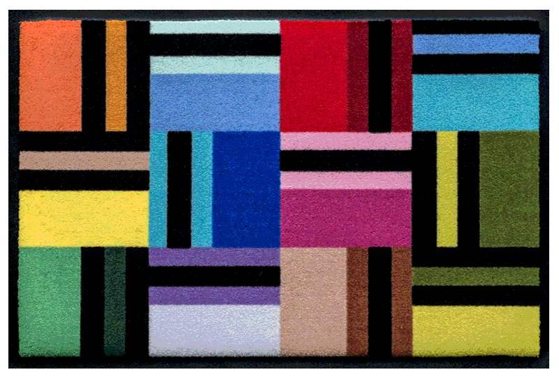 Fußmatte Geometische Farbflächen mit Schwarz