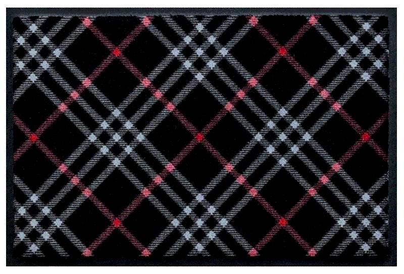 Fußmatte Diagonales Weiss-Rot auf Schwarz 2