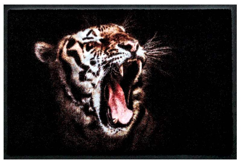 Fußmatte Roar. Brüllender Leopard