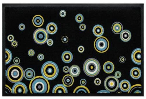 Fußmatte Bunte Kreise auf Schwarz