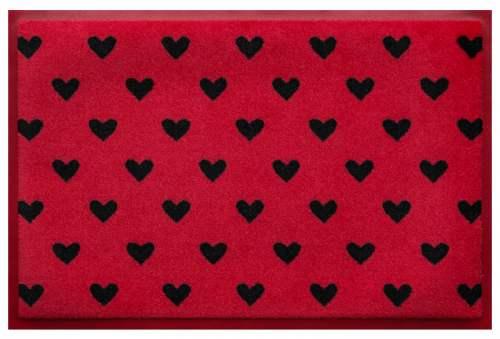 Fußmatte Herzen auf Rot