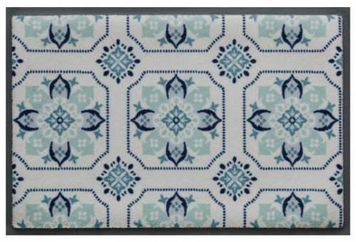 Fußmatte Küchenkacheln Graublau