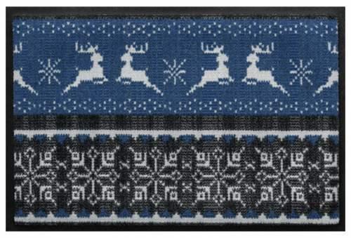 Fußmatte Hirsch Bordüre in blau-grau